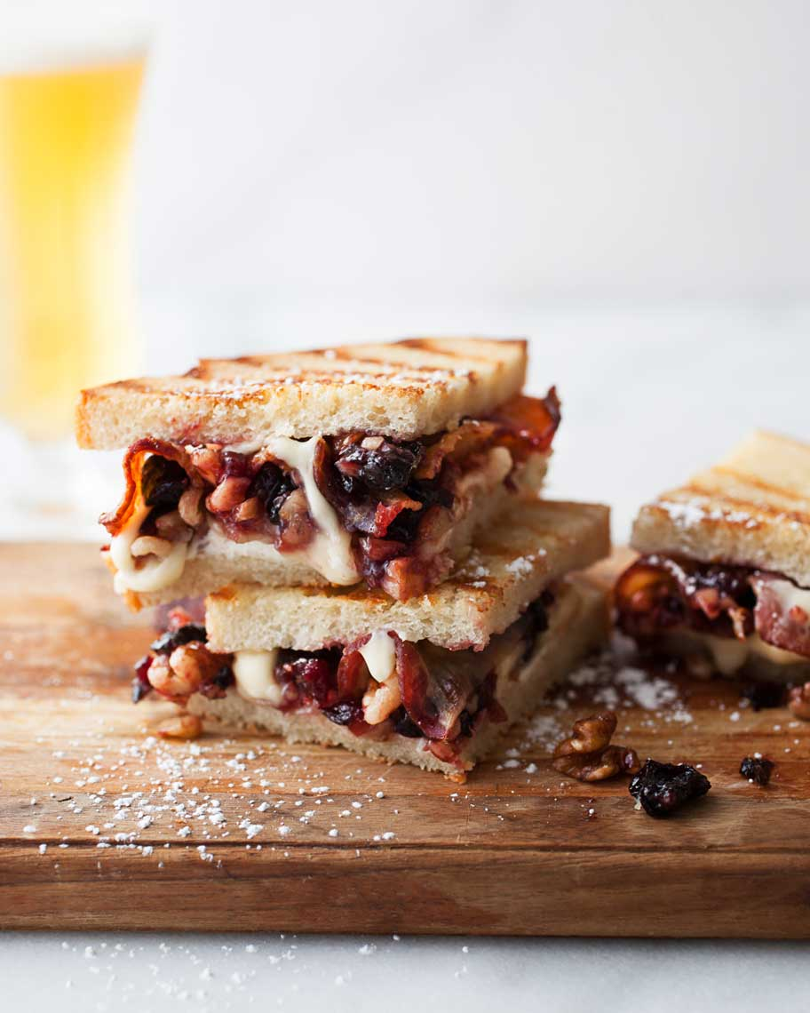 Gourmet toasted cheese sandwich with bacon